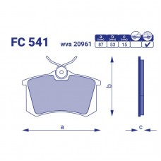 Задние тормозные колодки AUDI 80 AVANT, FC 541, к-т