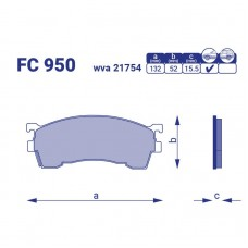 Тормозные колодки передние, Ford Probe II,FC950, к-т